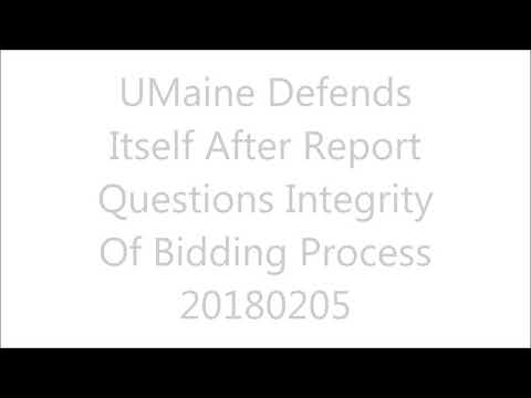 Audio Clip -  UMaine Defends Itself After Report Questions Integrity Of Bidding Process