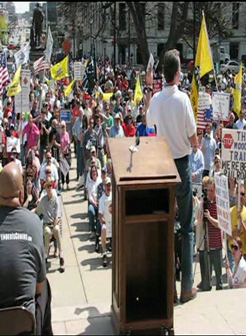 Tea Party rally - Lansing - Mike Cox speaking, 4-15-10