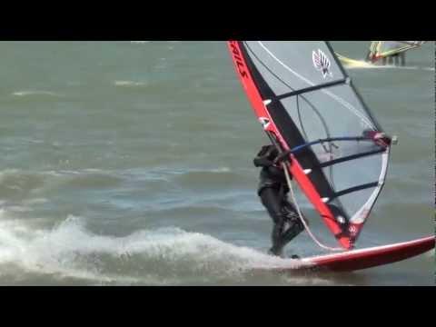Windsurfing, Lake St. Claire, Blue Lagoon, Michigan,  Wind 35 MPH,, Ezzy 5.3 sail.