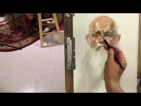 """John"", live model watercolor painting demo, by Zimou Tan"