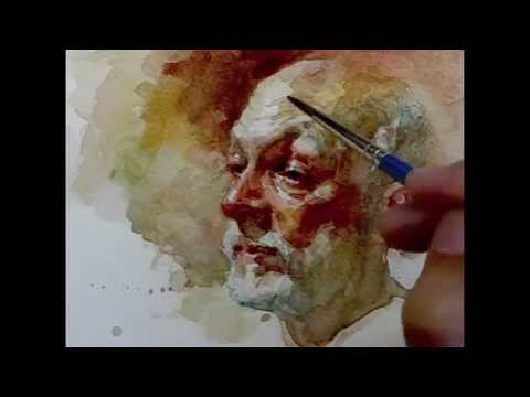 Watercolor step by step how to paint portrait, demo by Zimou Tan