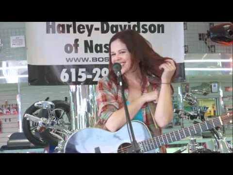 Julie Gribble playing at Bost Harley Davidson for the NashvilleEar.com Songwriter Stage