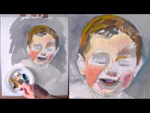 Cuadros al óleo - Retrato  de niño pintado al óleo