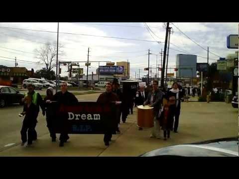 Start of Death of the American Dream Funeral March in Dallas see Occupy Dallas