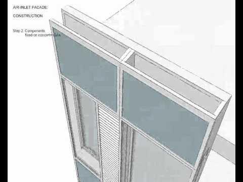 Animace dvojité provětrávané transparentní fasády