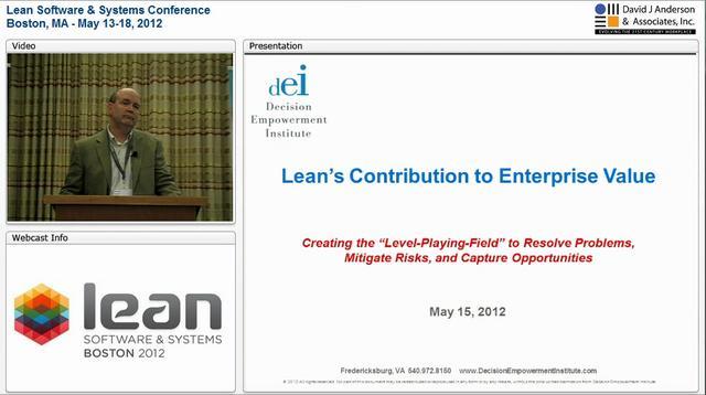 LSSC12: Lean's Contribution to Enterprise Value - Brian Hagen
