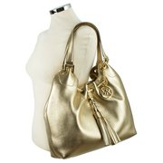 Michael Kors Camden Gold Leather Handbags | Luxurystation.com
