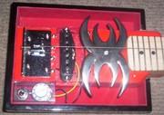 open concept black widow  red velvet cigar box guitar.4