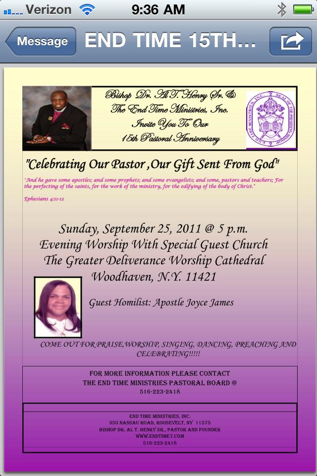 15th Pastoral Anniversary