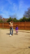 Joe teacher Saniya how to play horseshoes and volleyball. My future athlete.