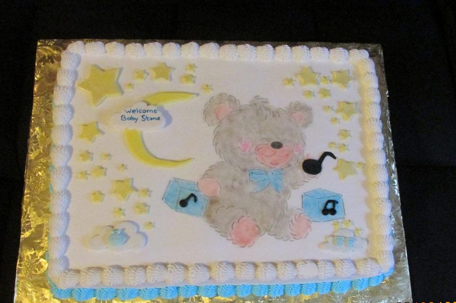 Teddy Bear Baby Shower Cake with moon & stars.