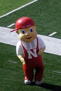 Lil Red on the the field at Memorial Stadium.