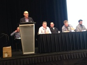 Peter Brown, Director Agriculture at Scotiabank, introducing farmer  panel at the 2015 Precision Agriculture Conference