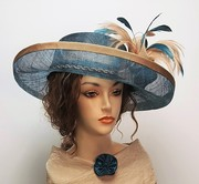 Teal and Beige Wide upturn brim