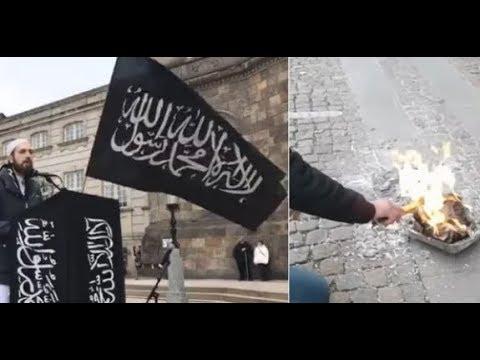 Terror Linked Hizb ut Tahrir Holds Radical Protest Right Besides the Danish Parliament Waving Jihadi Flags