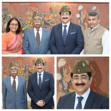 INA Cap Was Presented to Dr. Sandeep Marwah by Brig. Chikara