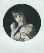 portrait of a girl and a cigarette
