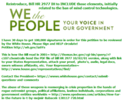 WE PETITION THE OBAMA ADMINISTRATION TO: Reintroduce, Bill HR 2977 IH 10/02/01 to INCLUDE those elements, initially related to the ban of mind control technologies