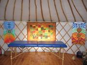 formation au massage ayurvédique sous des yourtes