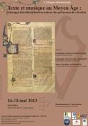 """Poitiers : colloque international """"Texte et musique au Moyen Âge : échanges interdisciplinaires autour des processus de création"""""""