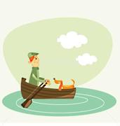 Passeios de barco com cão de salvamento aquático