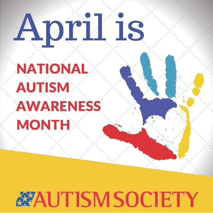 autism society poster with a red blue teal and yellow painted hand