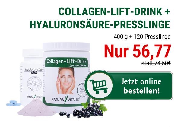 Geburtstag: Collagen-Lift-Drink + Hyaluronsäure-Presslinge von Natura Vitalis