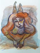 Orange woman lying down