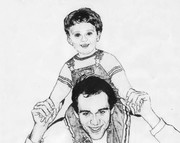 my son and grandson  sketch by Marique