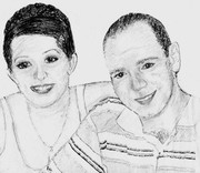 My son and wife  sketch by Marique