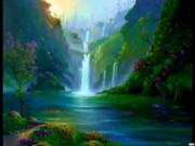 WaterfallPondPurpFlowersDaydreamgirl1JimWarrenArt