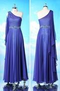 Modern Chiffon Blue One Shoulder A Line Beaded Formal Dress