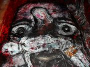 Voices of the prisoners victims of torture  Acryl auf Tuch 150 x 150 cm Jahr 2010 Despina Papadopoulou