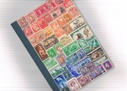 Vintage stamp collage rainbow