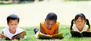 Reading practice at the park