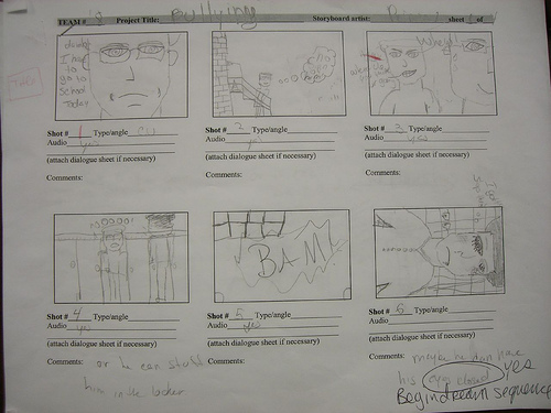 A sample storyboard