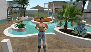 Hanging out at DEN poolside