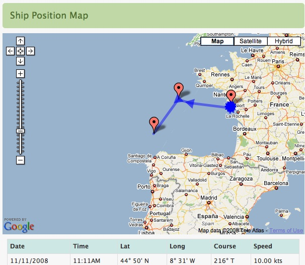 Tracking our Teacher at Sea in Google Maps