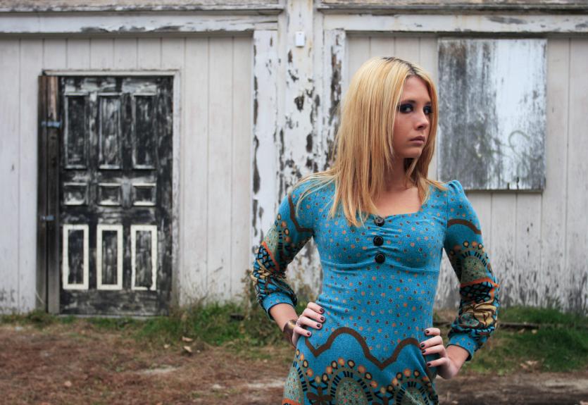 Blond in Blue dress