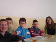 Kosovar elementary boys, teacher, and me!