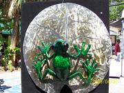 Tree frog bronze art