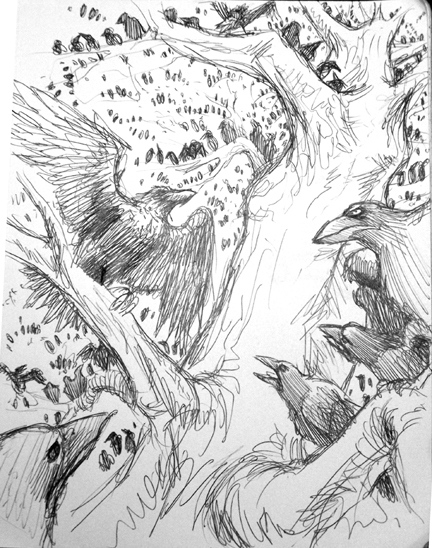 Early conceptual drawing (Crow gethering)