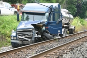 tractor trailer on to tracks  Bunola river road in PA