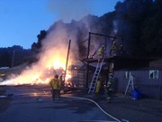 Barn Fire Uvas Fire Dept on scene