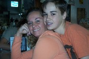 My son and I in the soda shop in Bandera, Tx.