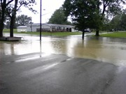 Flood water in front of Station