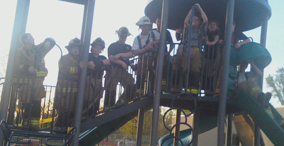 Firefighters on the playground