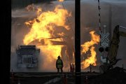 Flames Shoot from Site of Idaho Natural Gas Explosion