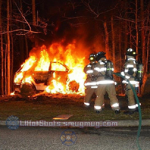 4/1/2014 12:30 a.m. SCPD 7th Pct. officers save man from burning SUV after accident on Florence Dr. in Manorville.