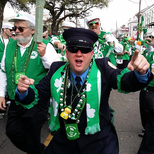 Saint Pattys Parade Nawlins style. Tampa Bay F.D. made a showing.